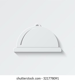 serving food vector icon - paper illustration