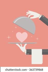 Serving love vector flat pastel Valentine