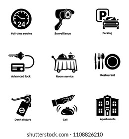 Serving the room icons set. Simple set of 9 serving the room vector icons for web isolated on white background