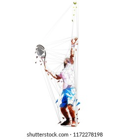 Serving tennis player, geometric isolated vector illustration