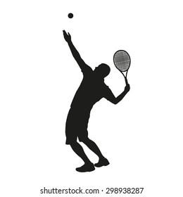 Serving tennis player silhouette