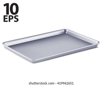 Serving tray isolated. 3D vector illustration