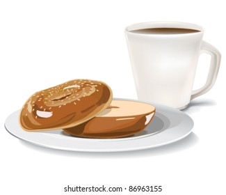 A sesame bagel and a cup of coffee