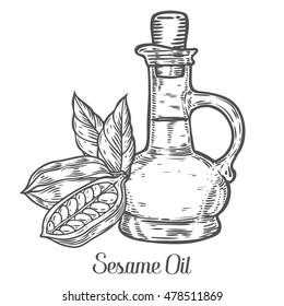 Sesame oil bottle nuts plant, natural organic butter ingredient. Hand drawn vector sketch engraved illustration. Sesame seed isolated on white. Treatment, care, food ingredient