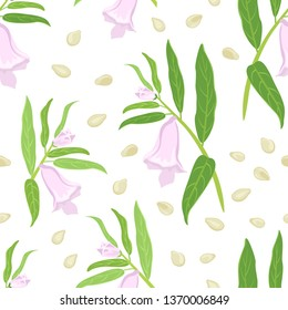 Sesame plant seamless pattern on white background. Branches with green leaves and flowers, seeds. Vector illustration in cartoon simple flat style.