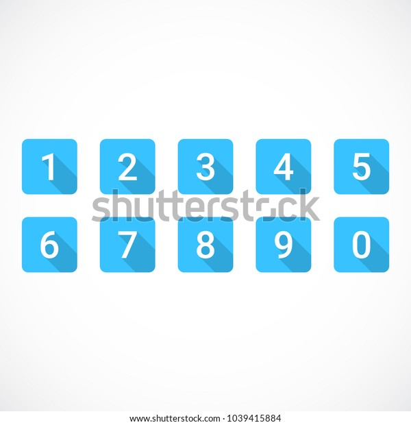 Set of 0-9 numbers. Set of blue number icons. Vector illustration