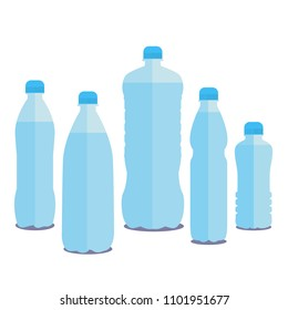 Set 0f 5 bottles of water. 1 , 0,5, 0,33, 1,5, 2.