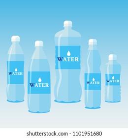 Set 0f 5 bottles of water. 1 , 0,5, 0,33, 1,5, 2.