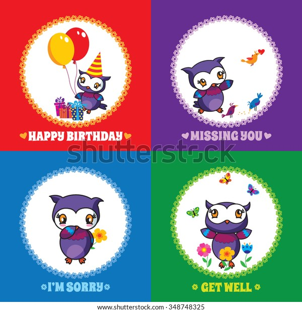 Set 1 of colourful greeting cards with cute owls: Happy Birthday, Missing you, Get well, I'm sorry. Free font Spicy Rice used.