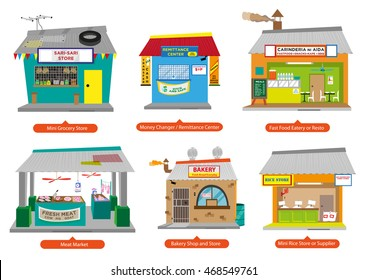 Set 1 of Philippines Commercial and Small Business Establishments  like the popular home-based Sari-Sari store and more. Editable Clip Art.