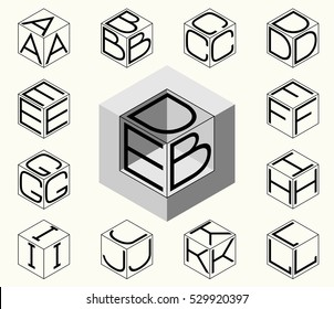 Set 1 template of the letters inscribed in the three sides of the cube, hexagon. To create monograms, logos and emblems.