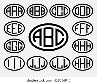 Set 1 of templates from three capital letters inscribed in a oval. From wide lines of the same thickness. To create logos, emblems, monograms. Lineart style