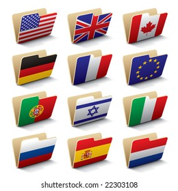 Set 1 of vector folders icons with world flags