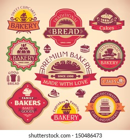 Set 1 of vector vintage various bakery labels