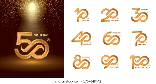 Set of 10 to 100 Anniversary logotype design, Years Celebrate Anniversary Logo silver and golden for Celebration event, invitation, greeting, template, Flyer and booklet, Arrow Infinity logo vector.