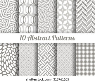 Set of 10 Abstract patterns. Black and white seamless vector backgrounds.