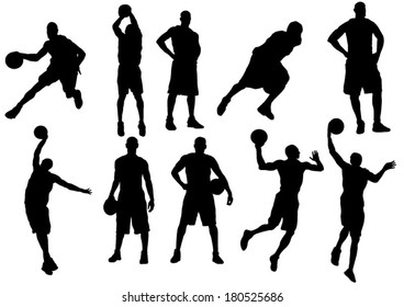 The set of 10 basketball players silhouette