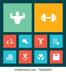Set Of 10 Bodybuilding Icons Set.Collection Of Heart In Hand, Jumping Jack, Muscular Elements.