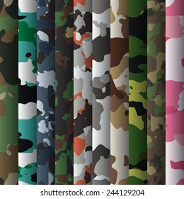 Set of 10 camouflage patterns vector