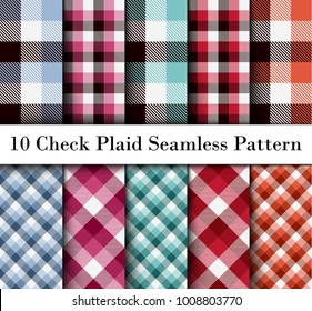 Set 10 Check Plaid Seamless Pattern in  Different Colors. Template for Clothing Fabrics. Trendy Colors Palettes of  2000 - 2004 Season. Vector Illustration.