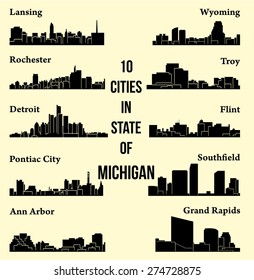 Set of 10 city silhouette in Michigan ( Rochester, Pontiac City, Detroit, Southfield, Lansing, Flint, Troy, Ann Arbor, Wyoming, Grand Rapids )