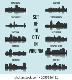 Set of 10 City Silhouette in Virginia ( Richmond, Norfolk, Roanoke, Rosslyn, Newport News, Alexandria, Portsmouth, Virginia Beach, Hampton, Lynchburg )