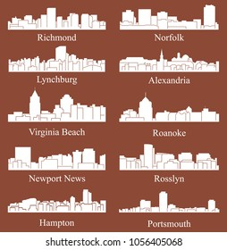 Set of 10 City Silhouette in Virginia ( Richmond, Norfolk, Roanoke, Rosslyn, Newport News, Alexandria, Portsmouth, Virginia Beach, Hampton, Lynchburg )