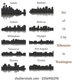 Set of 10 City Silhouette in Washington ( Seattle, Olympia, Auburn, Vancouver, Takoma, Spokane, Port Angeles, Bellingham, Bellevue, Everett )