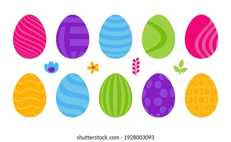 Set of 10 color Easter Eggs with pattern. Design elements for holiday cards. Easter collection with different texture. Cartoon flat style Vector illustration