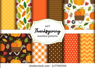 Set of 10 cute seamless Thanksgiving patterns ideal for kitchen textile or bed linen fabric or interior wallpaper design, can be used for wrapping or scrap booking paper etc
