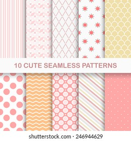 Set of 10 cute seamless vector patterns