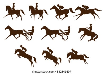 Set of 10 different equestrian sports symbols