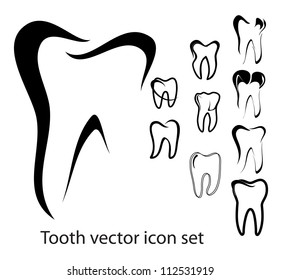 Set of 10 different tooth vector illustrations isolated