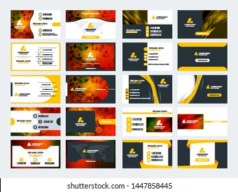 Set of 10 double sided business card templates. Stationery design. Vector illustration