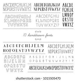 Set of 10 hand drawn fonts.