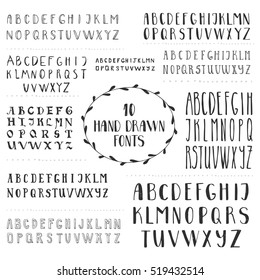 Set of 10 hand drawn fonts. Script letters for design. Vector. Isolated.