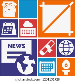 Set of 10 interface filled icons such as newspaper, stopwatch, worldwide, calendar, torch, text lines, crop, certificate