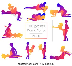 Set 10 Kama Sutra positions. Man and woman on white background sex poses illustration. 21-30/100 poses