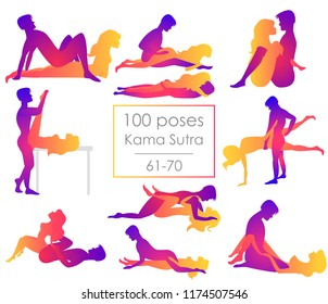 Set 10 Kama Sutra positions. Man and woman on white background sex poses illustration. 61-70/100 poses