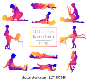 Set 10 Kama Sutra positions. Man and woman on white background sex poses illustration. 11-20/100 poses