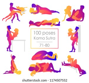 Set 10 Kama Sutra positions. Man and woman on white background sex poses illustration. 71-80/100 poses