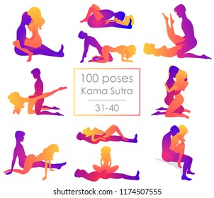 Set 10 Kama Sutra positions. Man and woman on white background sex poses illustration. 31-40/100 poses