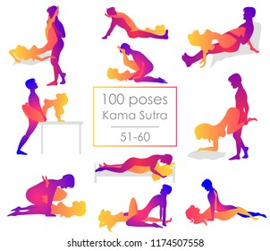Set 10 Kama Sutra positions. Man and woman on white background sex poses illustration. 51-60/100 poses