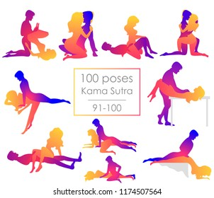 Set 10 Kama Sutra positions. Man and woman on white background sex poses illustration. 91-100/100 poses