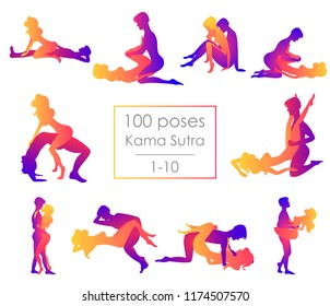 Set 10 Kama Sutra positions. Man and woman on white background sex poses illustration. 1-10/100 poses