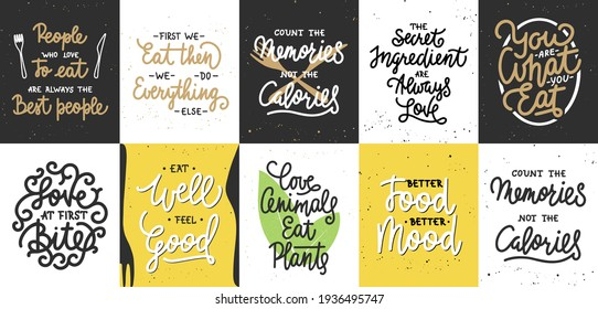 Set of 10 motivational and inspirational healthy lifestyle and eating lettering posters, decoration, prints, t-shirt design. Hand drawn typography. Handwritten lettering. Modern ink brush calligraphy.