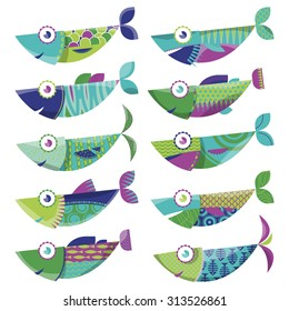 Set of 10 multi-colored decorated fishes. Sardines. Vector illustration