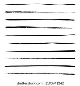 Set of 10 pieces grunge edges.Grunge borders.Vector brush strokes