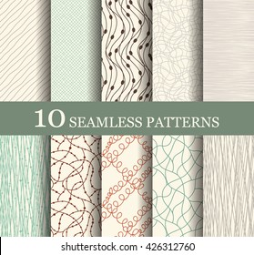 Set of 10 retro seamless patterns. Modern geometric texture. Endless texture can be used for wallpaper, pattern fills, web page background,surface textures. Set of geometric ornaments.