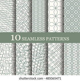 Set of 10 seamless patterns can be used for wallpaper, website background, textile printing. Modern geometric texture. Modern monochrome geometric texture.